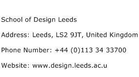 School of Design Leeds Address Contact Number