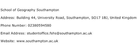 School of Geography Southampton Address Contact Number