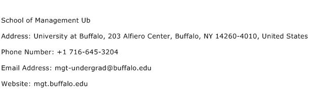 School of Management Ub Address Contact Number