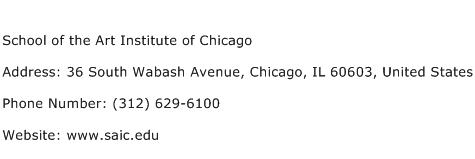 School of the Art Institute of Chicago Address Contact Number