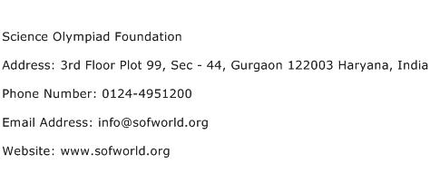 Science Olympiad Foundation Address Contact Number