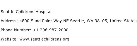 Seattle Childrens Hospital Address Contact Number