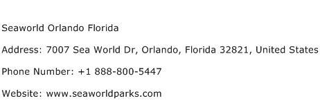 Seaworld Orlando Florida Address Contact Number