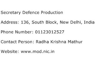 Secretary Defence Production Address Contact Number