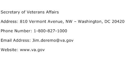 Secretary of Veterans Affairs Address Contact Number