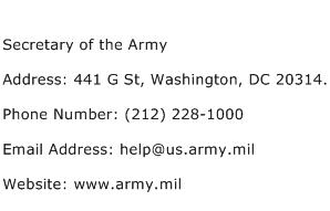 Secretary of the Army Address Contact Number