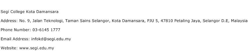 Segi College Kota Damansara Address Contact Number