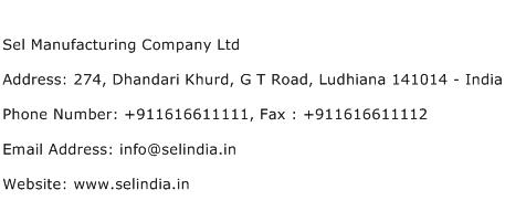 Sel Manufacturing Company Ltd Address Contact Number