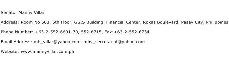 Senator Manny Villar Address Contact Number
