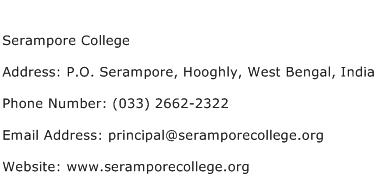 Serampore College Address Contact Number
