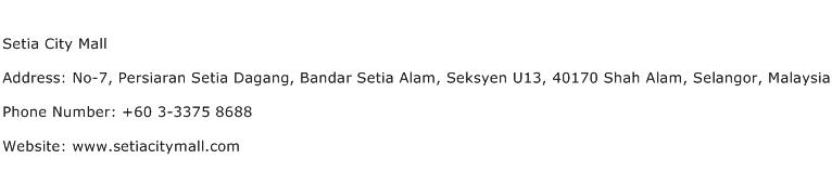 Setia City Mall Address Contact Number