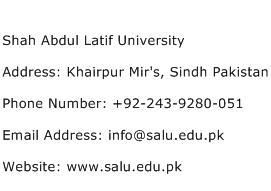 Shah Abdul Latif University Address Contact Number