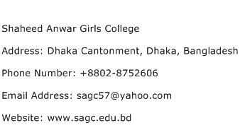 Shaheed Anwar Girls College Address Contact Number