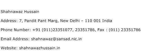 Shahnawaz Hussain Address Contact Number