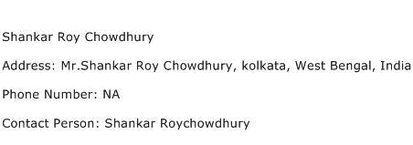 Shankar Roy Chowdhury Address Contact Number