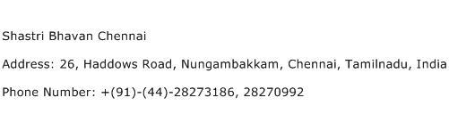 Shastri Bhavan Chennai Address Contact Number