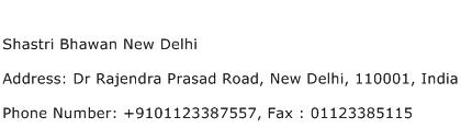 Shastri Bhawan New Delhi Address Contact Number