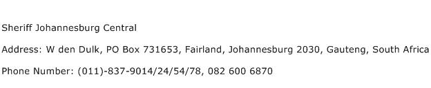 Sheriff Johannesburg Central Address Contact Number