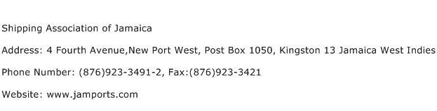 Shipping Association of Jamaica Address Contact Number