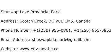 Shuswap Lake Provincial Park Address Contact Number