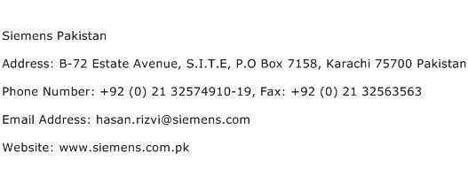 Siemens Pakistan Address Contact Number