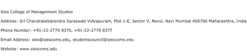 Sies College of Management Studies Address Contact Number