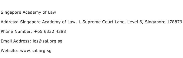 Singapore Academy of Law Address Contact Number