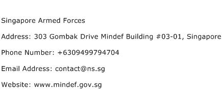 Singapore Armed Forces Address Contact Number