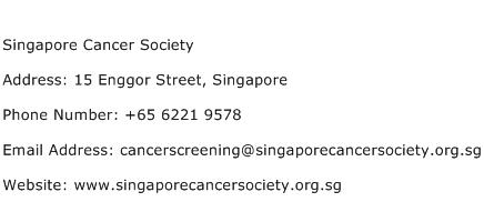 Singapore Cancer Society Address Contact Number