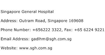 Singapore General Hospital Address Contact Number