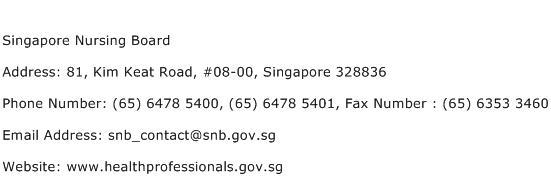 Singapore Nursing Board Address Contact Number