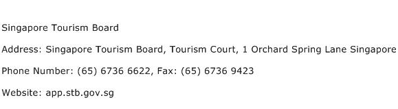 Singapore Tourism Board Address Contact Number