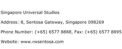 Singapore Universal Studios Address Contact Number
