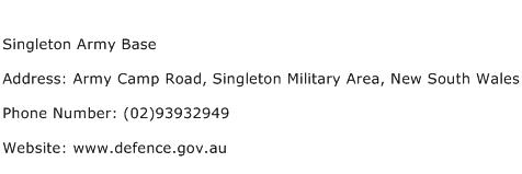 Singleton Army Base Address Contact Number