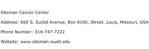 Siteman Cancer Center Address Contact Number