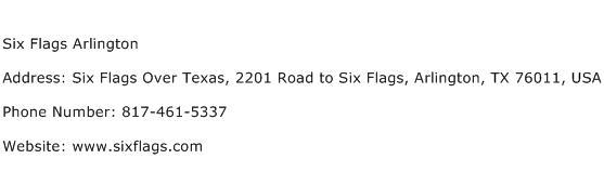 Six Flags Arlington Address Contact Number