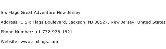 Six Flags Great Adventure New Jersey Address Contact Number