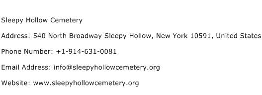 Sleepy Hollow Cemetery Address Contact Number