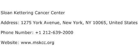 Sloan Kettering Cancer Center Address Contact Number