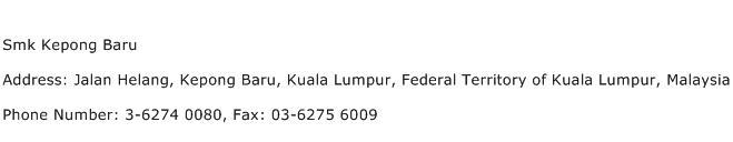Smk Kepong Baru Address Contact Number