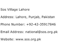 Sos Village Lahore Address Contact Number