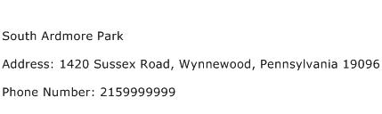 South Ardmore Park Address Contact Number