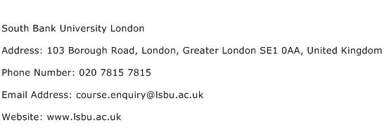 South Bank University London Address Contact Number