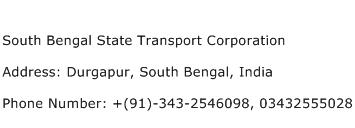 South Bengal State Transport Corporation Address Contact Number