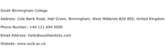 South Birmingham College Address Contact Number