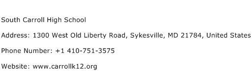 South Carroll High School Address Contact Number