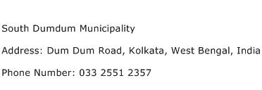 South Dumdum Municipality Address Contact Number