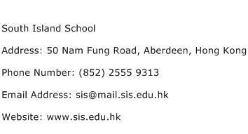 South Island School Address Contact Number
