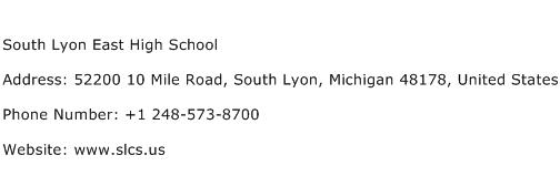 South Lyon East High School Address Contact Number