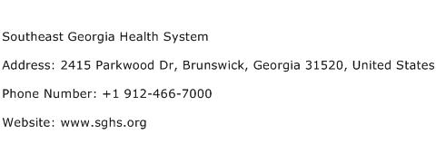 Southeast Georgia Health System Address Contact Number